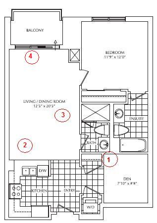 This is a 1-bedroom-plus-den, 2-bathroom unit of about 849 square feet.  Right off the bat, I like it on paper because I don't think there are  enough large ...