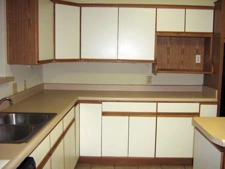 Dated Condo - Wood Panel Kitchen